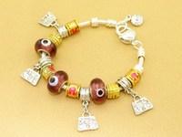 Hot!Free Shipping wholesale 925 Sterling Silver jewelry charms bracelet silver bracelet. crystal beads bracelet  Pp040