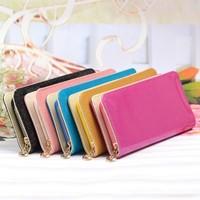 2014 new arrives brand women dull polish wallet leather fashion purse women clutch wallet ladies money clip  cards bag  carteira