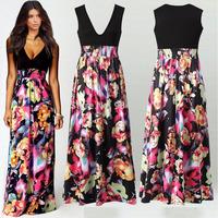 Hot Selling High Waist Sleeveless Print Floral Dress European Elegant Celebrity Style Womens Dresses
