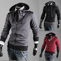 foreign trade sportsman shoulder spell color hooded men casual cardigan hooded sweater hoodie 7-W09