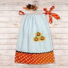 Kids Pageant Halloween Pumpkin Print Peasant Handmade Cotton Little Girls Pillow Case Dress Fashion Jewelry