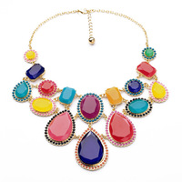 2014 Summer New Arrival Fashion Big Brand Luxury Statement Alloy Exaggerated Colorful Droplets Necklace & Pendants Jewelry