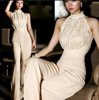 Sexy Women Lace Pearl Halter Long Cocktail Evening Party Trouser Romper Jumpsuit macacao feminino