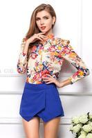 fashion 2014 women blouse plus size Long sleeve flower blusas femininas Printing chiffion skirt women camisas femininas KL997