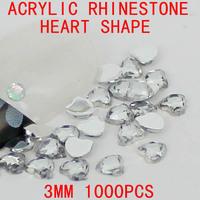 3mm 1000pcs acrylic rhinestone heart shape beads silver flatback rhinestones perfect for nail art scrap booking phone case diy