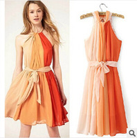 Europe 2014 Latest Fashion Chiffon Halter color Xiaojian Pleated Dress with belt