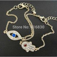 New Designer Hamsa Fatima Hand Blue Turkey Evil Eye Charm Bracelet Free Shipping