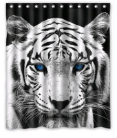 "Design Tiger Pattern Custom 12 holes Shower Curtain Size 60"" x 72"""