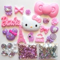 Hello Kitty Cabochon Phone Case DIY Pink & Purple Hello Kitty Rhinestone Flat-back Resin Gems for Phone Case DIY
