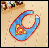 Babador Hot Sale Baberos 2014 Hot Baby Bib .kids Bibs/ Lunch Cute Towel 3 Layer Waterproof Cartoon Superman Bibs free Shipping