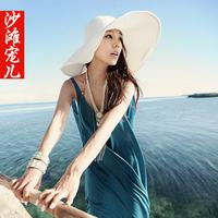 Women's bohemia beach dress spaghetti strap women's loose dress plus size sweet medium-long one-piece dress