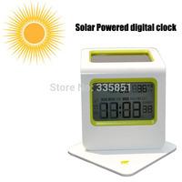 Solar Powered Digital Alarm Snooze Clock Desktop w/ Calendar Temperature LCD Display