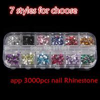 3000pcs Mixed Colors Acrylic Nail Art Decoration Rhinestone Round Nails Tips With Hard Case Free Picker Pencil