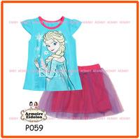 15 August Girls Frozen Skirt Sets Children Autumn -Summer Clothing Set New 2014 Wholesale Kids T-Shirt & Skirts P059