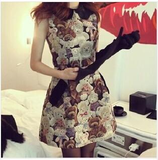 2015 New Arrival Cute Empire Doll collar Sleeveless Mini Bear Printed Dress Cotton Plus size High Quality Dress(China (Mainland))