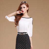 Free Shipping New 2014 Summer Fashion Chiffon Blouse Shirt Lace Women Loose White Chiffon Shirt,Women Blouse,S M L XL