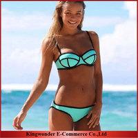 Wholesale Free shipping Fashion  Swimwear Triangle Neoprene Bikinis Woman Neoprene Swimsuit Set Push Up Bikini Set  S-XL BKN 006