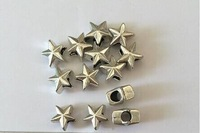 FREE SHIPPING  9MM*11MM  12PCS/LOT SILVER METAL STAR  LARGE HOLE BEADS LEAD AND CADIMUM FREE!