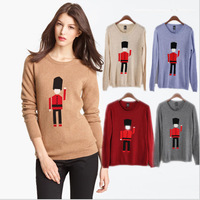 FS-2570  British Soldiers Cute Robot O-Neck Collar Long Sleeve Women's Sweater Rabbit hair Pullovers