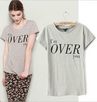 Hot Sale New 2014 Fashion Summer New Slim Print short sleeve Broadcloth O-Neck T-Shirt Women Spandex Free shipping TS0043