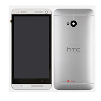 For HTC One M7 LCD Touch Glass Digitizer Screen Frame + Back Cover Housing Silver Send free tool