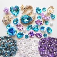 DIY 3D Blue Crystal Swan Bling Bling Kawaii Alloy Cabochons DIY Phone Case Deco Kits