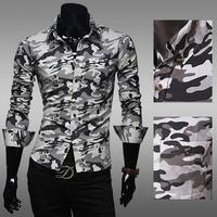 2014 New Brand Men Slim Mens Shirt Stylish Camouflage Long Sleeve Shirts Male Gentleman Clothes Men's Military shirt M-2XL AX379
