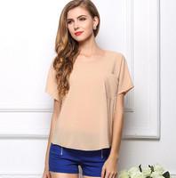 fashion 2014 women blouse plus size short sleeve blusas femininas Pocket chiffion skirt women camisas femininas KL999