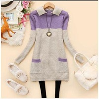 New style spring han edition dress lapel spell color pocket loose two color sweater pullovers sweater coat 2384