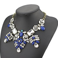 2014 new design high quality fashion JC brand jewelry necklace for women blue stone glass crystal statement necklace