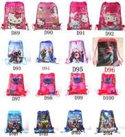 Hot Sale12pcs/Lot!High Quality Children School Bag,Frozen Peipei Big Drawstring Cartoon Backpack,Children Print School Backpacks