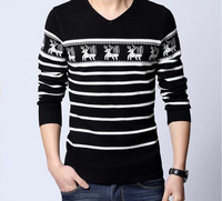 2014 Autumn New Men'S Sweaters V Neck Knitted Brand Sweater Fashion Jacquard Fawn Pullover Sweater For Men XG50-49