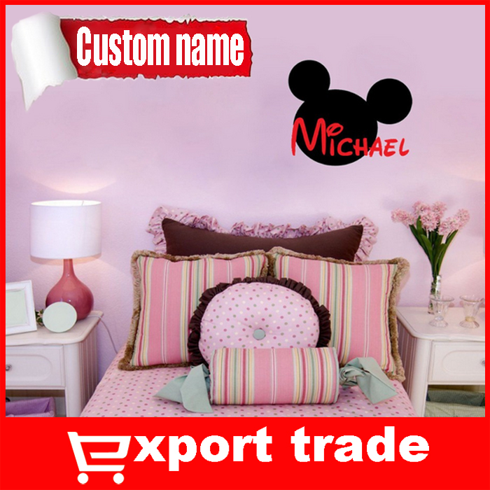 PERSONALIZED Mickey Mouse Name vinyl wall quote for home(China (Mainland))