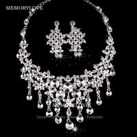 free shipping  luxury bridal jewelry set  haverest  rhinestone  wedding jewelry set pendant necklace  with  earring new arrive