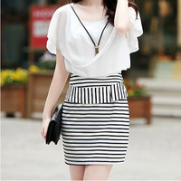 2014 women's stripe ol slim hip sexy slim short-sleeve chiffon one-piece dress female