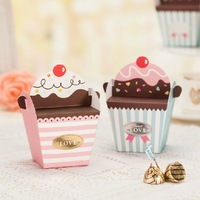 50PCS/lot cute cake boxes, lovely cupcake design. chocolate/cookie/sweet/candy boxes. Wedding Favor gift box.