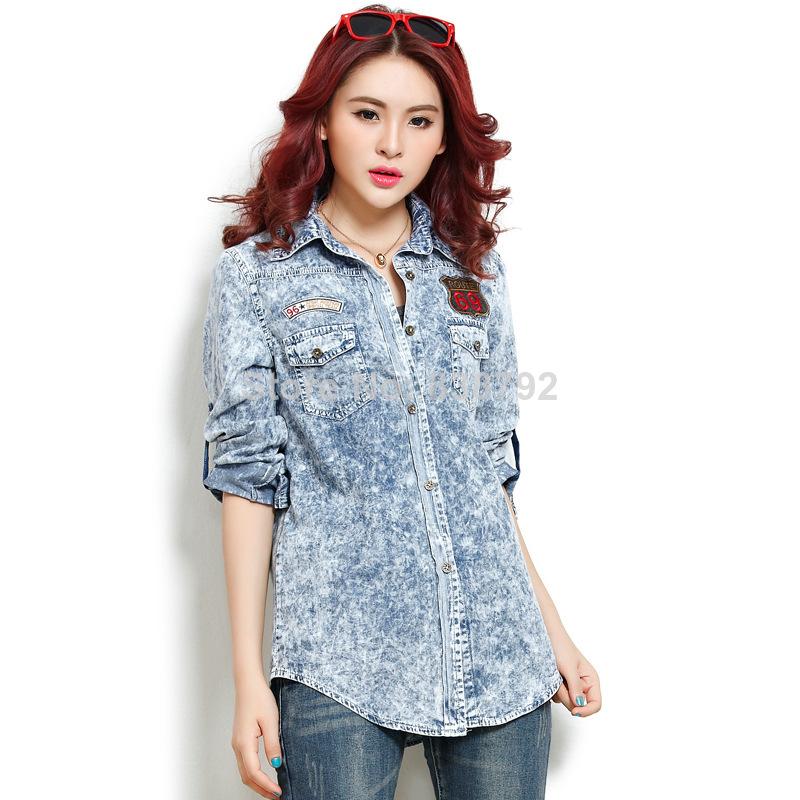 model baju kemeja denim wanita import branded