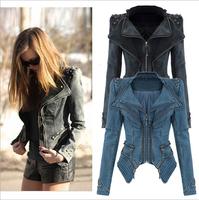 2014 Winter Vintage Punk Style Rivet Epaulet Zipper Patchwork Basic Outerwear Denim Jeans Bomber Jacket & Cost For Women D0001M