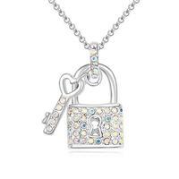 Fashionable Austrian Crystal Fairy Key Pattern Necklace - Multicolor