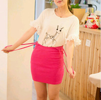 Free Shipping New Cute Fashion Braces Skirt Casual Straight Mini Women Skirt Underskirt Spring, Summer, Autumn Candy color