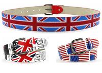 2014 Women Print USA United Kingdom National Flag Imitation leather Belts Metal Buckle Belts Designer High Quality Fashion Belt