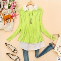 New style Spring the new fashion women's clothing loose knit hollow-out twist collar pullovers sweater 2387