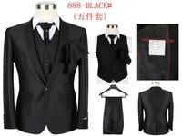 New 2014 Autumn Men's suit Five-piece Casual Fashion New Handsome Men  Sportswear (Vest + Jacket + Pants + Tie + Square Towel)