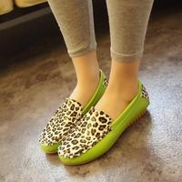 Fashion female models Peas flat  ladies  women  leopard shoes