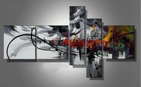 5 Pieces Wall Art Modern Handmade City Landscape Oil Painting On Canvas Decor Picture On Wall Hand Made Artwork Painted