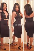 Sexy Black V-Neck Halterneck Midi Dress Bodycon M L XL Plus Size Fashion Women 2014 New