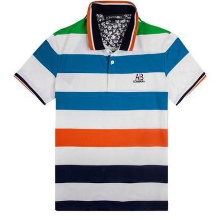 Free shipping! 2014 Brand Logo summer men's POLOS Casual color striped breathable shirt sportswear tennis Polo shirt M-XXL(China (Mainland))
