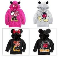 1pcs New 2014 Boys Girls Hoodies Mickey Minnie Sweatshirts Mouse Cartoon Tops Children T Shirts For 2-6yrs Black FreeShipping