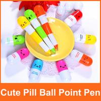 Retractable Pen/Ball Point Cartoon Telescopic Pen Face Capsule Pills Pen New Style Pen