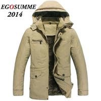 2014 Parka Winter Jacket Men Long Windbreaker Thicken Plus Velvet Warm Army Hooded Detachable Korean Mens Trench Coat Outwear